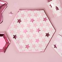 Little Stars Pink Large Paper Plates (8)
